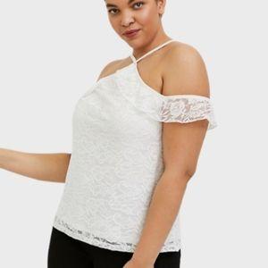 Torrid size 3 only lace cold shoulder halter top